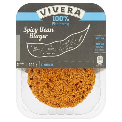 Vivera 100% Plantaardig Spicy Bean Burger 2 Stuks 200 g