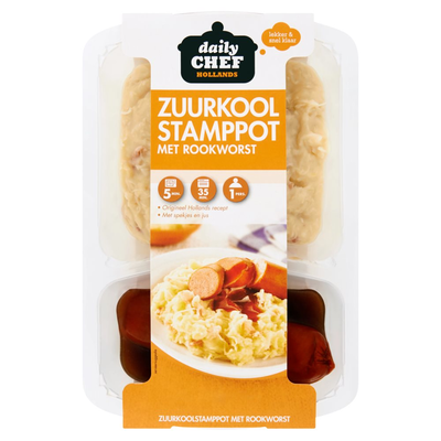 Daily Chef Hollands Zuurkool Stamppot Rookworst 500 g