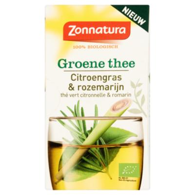 Zonnatura Thee groen citroengras rozemarijn bio