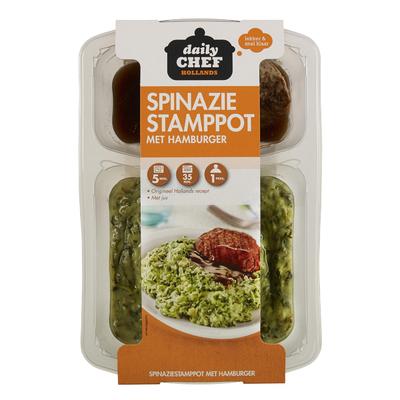 Daily Chef Spinazie Stamppot Met Hamburger