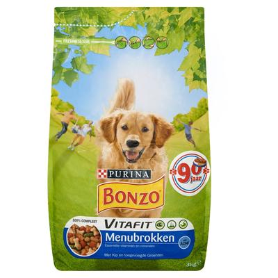 Bonzo Vitafit Menubrokken met Kip en Toegevoegde Groenten 3 kg