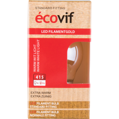 Écovif Led filament globe gold 6w e27