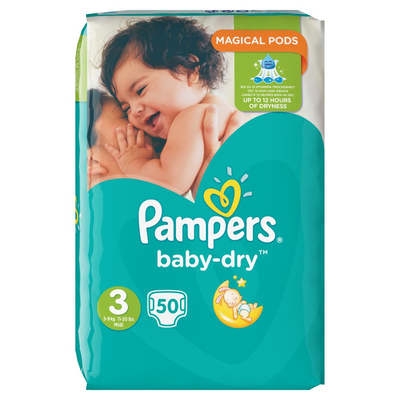 Pampers Baby-Dry Maat 3, 50 Luiers, Vertrouwde Droogheid