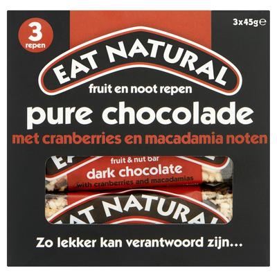 Eat Natural Fruit & Nut Bars Pure Chocolade met Cranberries en Macadamia Noten 3 x 45 g