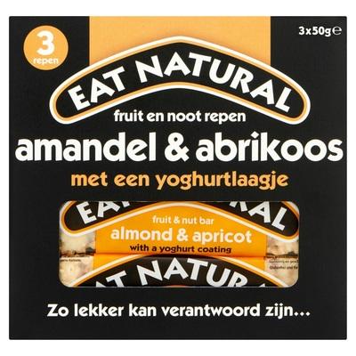 Eat Natural Fruit en Noot Repen Amandel & Abrikoos met een Yoghurtlaagje 3 x 50 g