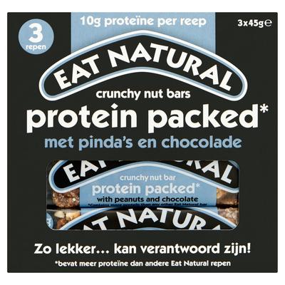 Eat Natural Crunchy Nut Bars Protein Packed met Pinda's en Chocolade 3 x 45 g