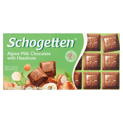 Schogetten Alpine Milk Chocolate with Hazelnuts 18 Stuks 100 g