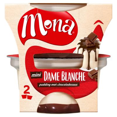 Mona Mini Dame Blanche Pudding met Chocoladesaus 2 x 135 ml