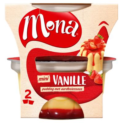 Mona Mini Vanille Pudding met Aardbeiensaus 2 x 135 ml