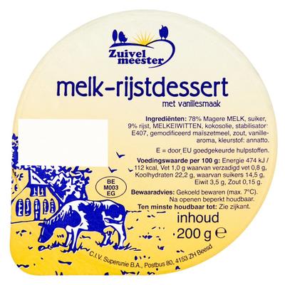 Zuivelmeester Melk-Rijstdessert met Vanillesmaak 200 g