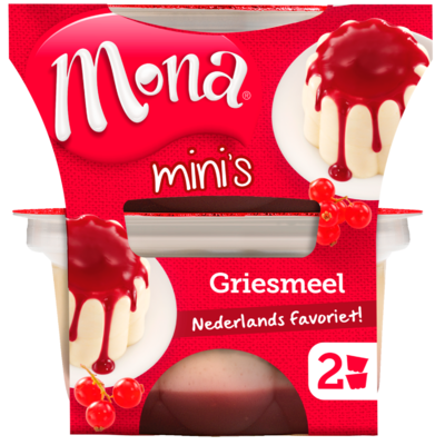 Mona Duopudding frambozen/rode bessensaus