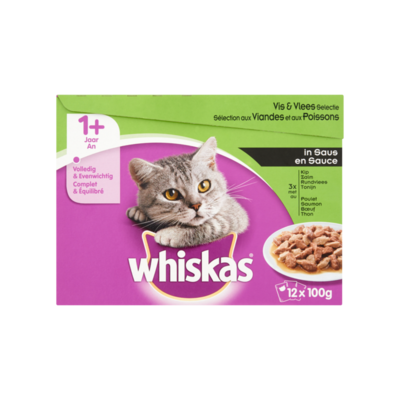 Whiskas 1+ Mix Selectie in Saus 12-Pack