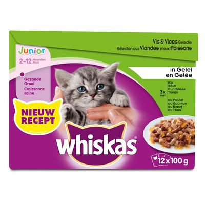 Whiskas Junior vis en vlees selectie in gelei