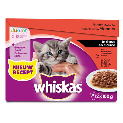Whiskas Junior vlees selectie in saus