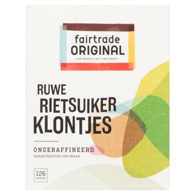 Fair Trade original Ruwe Rietsuiker Klontjes 126 Stuks 500 g