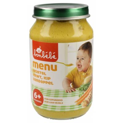 Bonbebe Maaltijd 6 maanden wortel, erwt, kip en aardappel