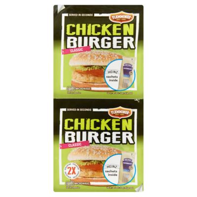 Flemmings Chicken Burger Classic met Sachets Mayonaise 2 Stuks 239 g