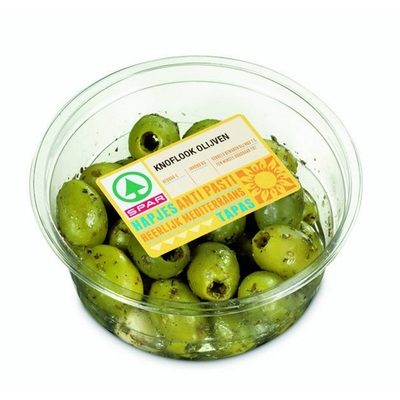 Huismerk Tapas Groene knoflook olijven