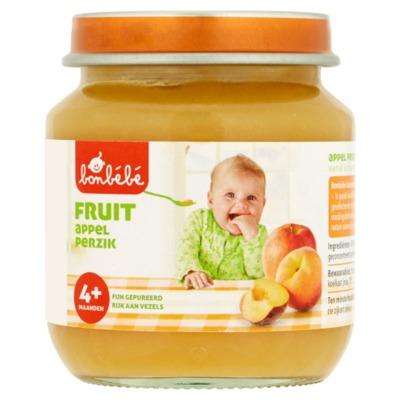 Bonbebe 4+ potje fruit appel/perzik 125 gram
