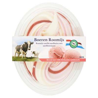 Primafrost Boerenroomijs vanille aardbei