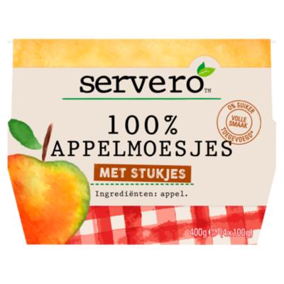 Servero 100% appelmoes met stukjes 4x100gram