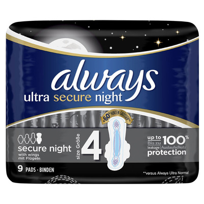 Always Ultra secure night (maat 4) maandverband