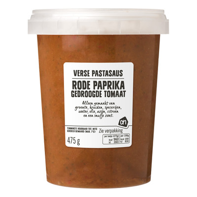 Huismerk Verse rode paprika pastasaus