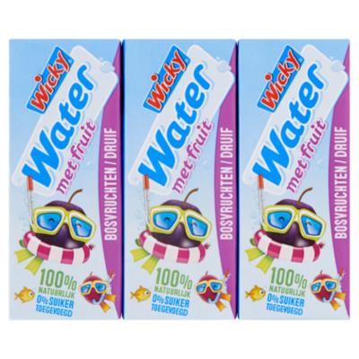 Wicky Water bosvruchten druif 6x200ml