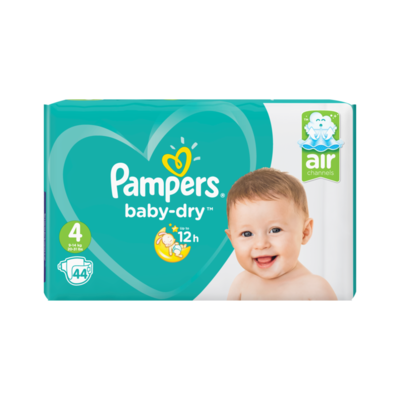 Pampers Baby-Dry Maat 4, 44 Luiers, Voor Droge Ademende Huid