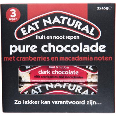 Eat Natural Pure chocolade cranberries en macadamia noten 3 stuks
