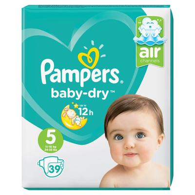Pampers Baby-Dry Maat 5, 39 Luiers, Voor Droge Ademende Huid