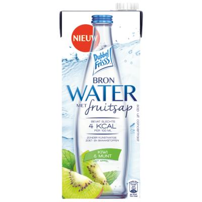 Dubbelfrisss Water met fruitsap kiwi munt