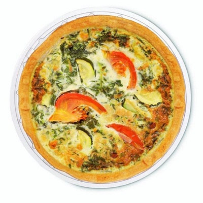 Ambachtelijke quiche Spinazie, kaas, courgette en paprika