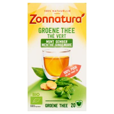 Zonnatura Groene Thee Munt Gember 20 Zakjes 40 g