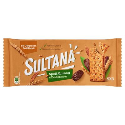 Sultana de Oergranen Fruitbiscuit Spelt, Quinoa & Dadel 15 Stuks 218 g