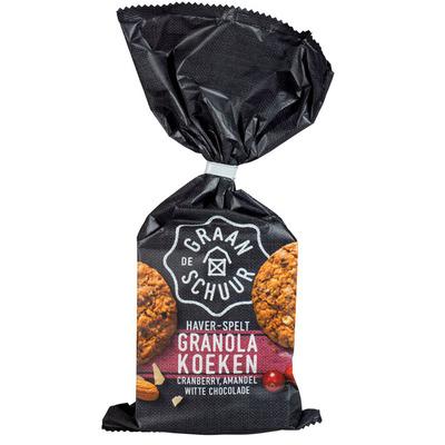 De Graanschuur Granola koeken cranb.-amandel witte choc