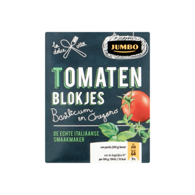 Huismerk Tomatenblokjes Basilicum en Oregano
