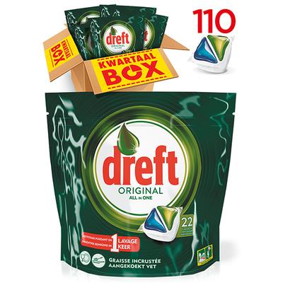 Dreft all in one regular vaatwastabletten kwartaalbox 110 stuks