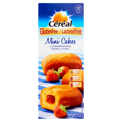 Céréal Glutenfree & Lactosefree Mini Cakes met Aardbeienvulling 6 Stuks 210 g