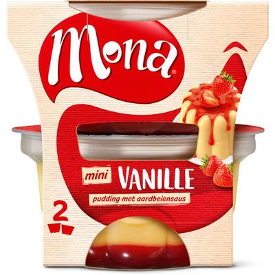 Mona Pudding vanille met aardbeiensaus duo