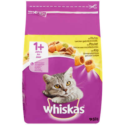 Whiskas Kattenvoer droog kip 1+