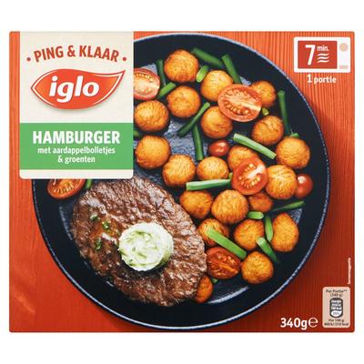 Iglo Ping & Klaar Hamburger met Aardappelbolletjes & Groenten 340 g