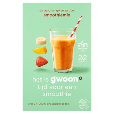 g'woon Smoothiemix Mango, Banaan en Aardbei 2 x 150 g