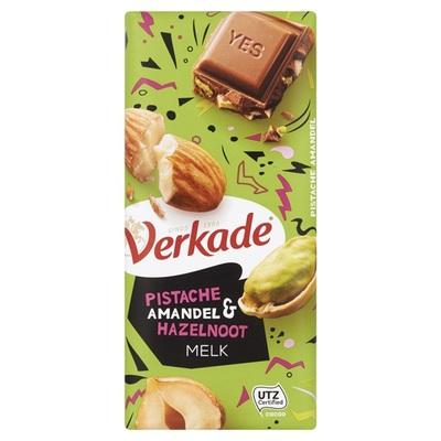Verkade chocoladereep Pistache Amandel & Hazelnoot Melk
