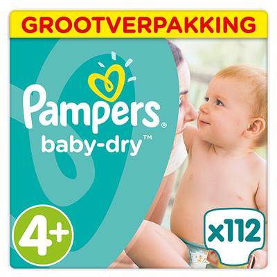 Pampers baby-dry grootverpakking maat 4+ 112 stuks