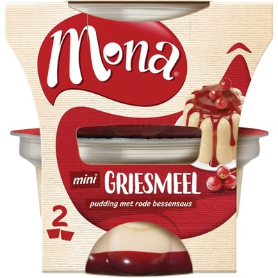 Mona Griesmeelpudding Rode Bessensaus