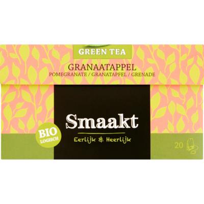 Smaakt Groene thee biologisch granaatappel 20 zakjes