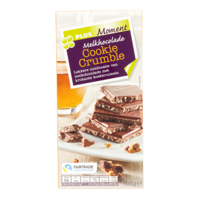 Huismerk Moment Tablet melk cookie crumble fairtrade