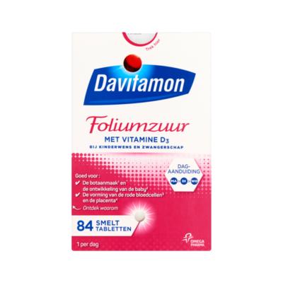 Davitamon Foliumzuur met Vitamine D₃ 84 Smelttabletten
