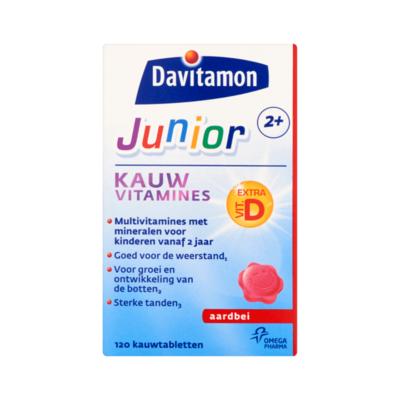 Davitamon Junior 2+ Kauw Vitamines Aardbei 120 Kauwtabletten